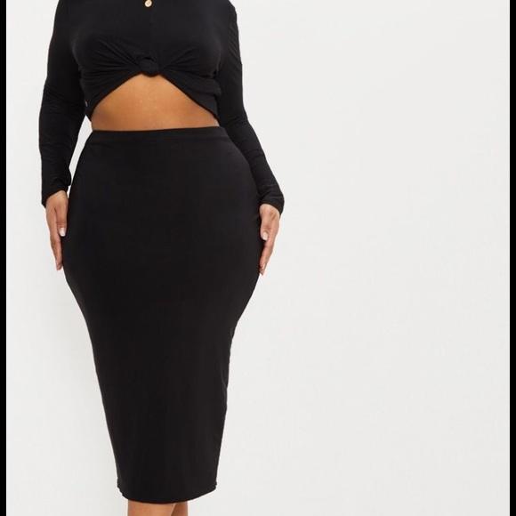 7c8bc9ebfa PrettyLittleThing Skirts | Black Slinky Midi Skirt | Poshmark